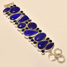 LAPIS-LAZULI-BLUE-SAPPHIRE-925-STERLING-SILVER-BRACELET-7-8