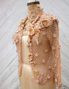 Hand Crocheted Tea Stained Cotton and Linen Cardigan Sweater with Antique Ecru Lace and Textiles