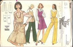 Vintage Vogue Misses Jumper or Tunic and Pants Sewing Pattern 8624 Bust 34  Please zoom in on scanned back for additional info and measurements. Sizes