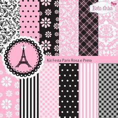 Kit Digital Festa Paris Rosa e Preto