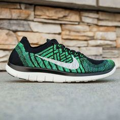 nike free 4.0 flyknit blue grey\/sail\/voltage green\/black dual lands
