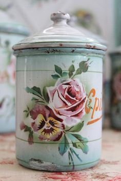 vintage enamelware canister - would work great in the sewing room.