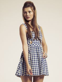 Blue Gingham Cutout Dress