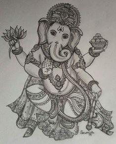 Ganesha Drawing, Lord Ganesha Paintings, Ganesha Art, Ganesha Tattoo Lotus, Lotus Tattoo, Tattoo Ink, Ganesha Tattoo Sleeve, Abstract Pencil Drawings, Art Drawings Sketches Simple