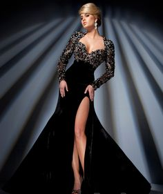 Diamante Beaded Sexy Backless Long Sleeve Black Velvet Long Prom Dress