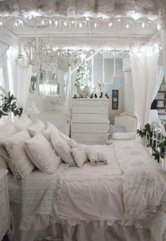This Blue and White Bedroom is so Romantically Beautiful. Shabby Chic Project Ideas Shabby Chic Decor    #Shabby #Chic #Decor