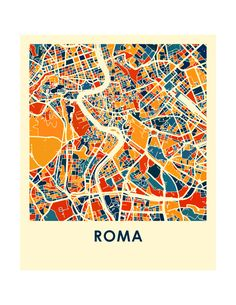 Etsy の Rome Map Print Full Color Map Poster by iLikeMaps
