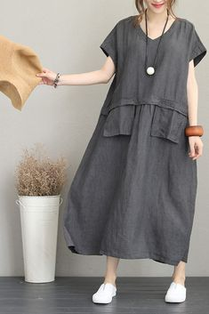Vintage Loose Maxi Dresses Women Linen Clothes Q1190