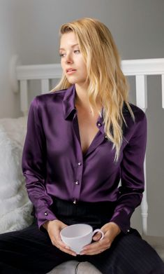 Milano Silk Blouse - Silk Button-Up Shirt Purple Shirt Outfits, Purple Blouse, Purple Shirts, Skirt Outfits, Sexy Blouse, Blouse Outfit, Pencil Skirt Black, Pencil Skirts, Satin Blouses