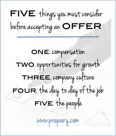 Five Things You Must Consider Before Accepting A Job Offer #ThePrepary