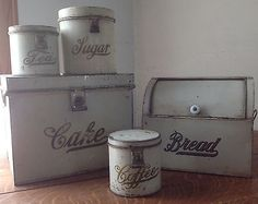 Vintage Canister & Box ~ Kreamer Ware Set! Rare Cake Bread Coffee Tea Sugar Tin. I would love to have a set like this!!!