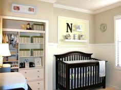 HGTV illustrates how to add storage space to a traditional nursery by organizing the closet with built-in shelves and drawers.