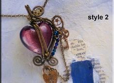 Jewelry Tutorial Pendant - Wire Wrapped Steampunk Style ..  All tutorials are emailed as pdf files  This simple heart pendant is easy for beginners....  It is one tutorial with both styles included....style 2 is just the same as style one but with a few more embellishments..  Use my tutorials to make things for your etsy shop or markets....