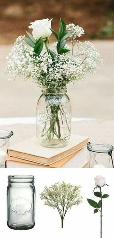 Table decorations. Tie wedding colored ribbon onto mason jars. Fill jars with water, baby's breath flowers, and 1-2 white roses.