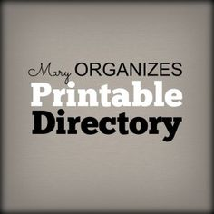 Printable Directory of FREE Organizing Printables