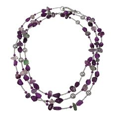 Italy |  Silver, Amethyst and Fluorite | Necklace