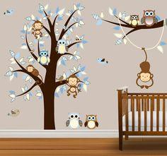Tree Decal Owls Monkeys Nursery Tree Children por NurseryDecals