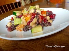"Veggie Bean Salad with Dijon Vinaigrette| Only 102 calories | Store large batch in fridge to eat ""on demand"" 