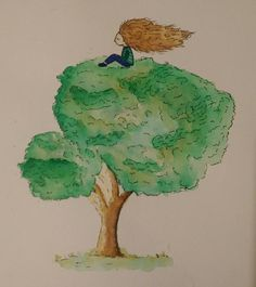 wind..  #watercolour #watercolorart #watercolourdairy #drawingdiary #drawingart #doodleart #doodlediary #nightdrawing #nightsketch #illustrasyon #illustration #suluboya #karalama #rotring #curly #kıvırcık #rüzgar #wind #windblow #tree #ağaç #alone #yanlız