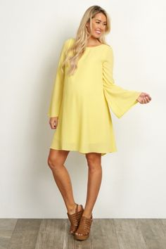Yellow Chiffon Bell Maternity Sleeve Dress