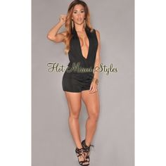 NWT Sexy black plunging V neck romper This plunging V neck black romper is sold out on their website! Silky and sexy. Nice breathable material. Never worn NWT. This item is no longer available on their site! Hot Miami Styles Dresses