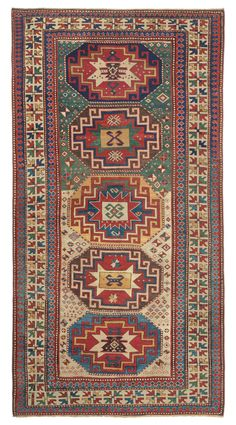 Caucasian Kazak Memling Gul, 4ft 6in x 8ft 7in, 3rd Quarter, 19th Century.  This visually stunning, highly collectible piece exemplifies the Caucasian weavers' love of infusing a seemingly regular design with frequent elements of surprise and an unabashed use of asymmetry.