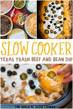 This Slow Cooker Texas Trash Beef and Bean Dip is extremely creamy and hearty makes for the best game-day dip! This Slow Cooker Texas Trash Beef and Bean Dip is extremely creamy and hearty makes for the best game-day dip! Slow Cooker Recipes, Gourmet Recipes, Mexican Food Recipes, Crockpot Recipes, Cooking Recipes, Dip Recipes, Slow Cooker Dips, Hamburger Recipes, Slow Cooking