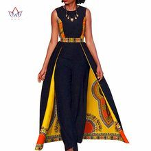 African Design Bazin Summer Elegant Womens Rompers Jumpsuit Sleeveless Rompers Jumpsuit Long Dashiki Pants Plus Size - Women's African Clothing Latest African Fashion Dresses, African Dresses For Women, African Print Dresses, African Print Fashion, African Attire, African Wear, African Women, African Clothes, Africa Fashion