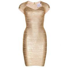 Hervé Léger Tejana Coated Metallic Bandage Dress ($1,902) found on Polyvore