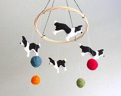 Border collie bebé móvil bebé perro móvil, perros móvil bebé, perros móviles infantiles, collie de frontera, blanco y negro, orgánico, de género neutro