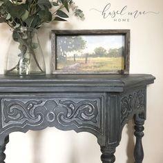 Annie Sloan Chalk Paint Furniture, Graphite Chalk Paint, Annie Sloan Chalk Paint Colors, Annie Sloan Graphite, Blue Chalk Paint, Annie Sloan Paints, Coastal Bedrooms, Desk Ideas, Paint Ideas