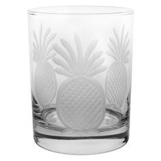 """Pineapple Cocktail Glasses, Set of 4. Engraved pineapple design. W 3.25"""" / D 3.25"""" / H 4.25"""" Dishwasher safe. Made in USA. Disclosure: This post contains an affiliate link, which leads to the merchant's website."""