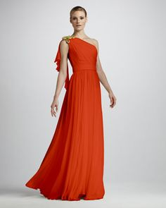 Rope-Shoulder Silk Gown by Notte by Marchesa at Neiman Marcus.