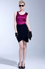 High Waist Wrapped Pleated Zipped Skirt - Skirts