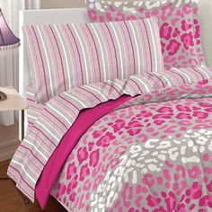 @Overstock.com - Safari Girl 7-piece Bed in a Bag with Sheet Set - This ultra-soft microfiber set features a stylized leopard animal print in pink, raspberry rose and white atop dove gray. The comforter and sham reverse to solid raspberry rose and the coordinating pink, white and grey sheets feature a stripe print.  http://www.overstock.com/Bedding-Bath/Safari-Girl-7-piece-Bed-in-a-Bag-with-Sheet-Set/8306580/product.html?CID=214117 $39.99