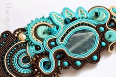 blueagata: Turquoise soutache bracelet with agate