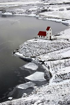 [Cold but peaceful ... This beautiful church is in Iceland by a lake called Úlfljótsvatn.] ...