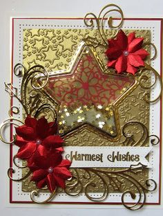 Hello there my crafty friends! I have a lovely star shaker card for today& card offering! I started by cutting a star aperture out of. Die Cut Christmas Cards, Xmas Cards, Men's Cards, Christmas 2017, Christmas Ideas, Christmas Decorations, Greeting Cards, Anna Griffin Cards, Fancy Fold Cards