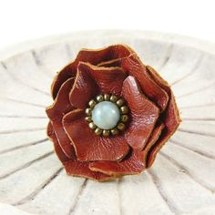 Ruffles Leather Flower Ring  Sylph RESERVED for ❤ by Viridian