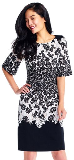 7c00b3675b0 Lace Print Colorblock A-Line Dress with Elbow Sleeves
