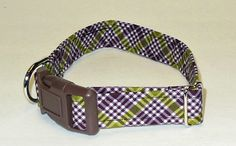 Plaid Adjustable Dog Collar Made to Order/ by JinsK9Kreations, $18.00