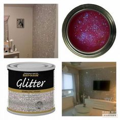 Glitter paint for interior Glitter Room, Glitter Walls, Sparkle Paint, Sparkly Walls, Glitter Accent Wall, Glitter Gel, Rustoleum Glitter Paint Wall, Glitter Hair, Glitter Balloons