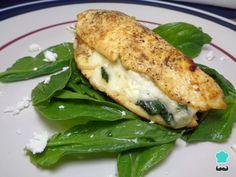 Receta de Pechugas rellenas de queso crema y espinacas #RecetasGratis #RecetasFáciles #RecetasdeCocina #Pollo #ChickenLovers #Pechugas #PolloRelleno