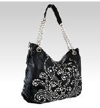 NEW WITH TAGS Black BLING RHINESTONE Faux Leather Purse HOT HOT HOT $56.50