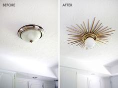 Sunburst Mirror Medallion DIY - A Beautiful Mess Need to do this! Sunburst ceiling medallion DIY (click through for tutorial) Decor, Home Diy, Sweet Home, Interior, Ceiling Medallions Diy, House, Home Projects, Home Decor, Home Deco