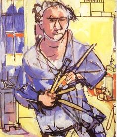 Self-Portrait with Brushes - Hans Hofmann