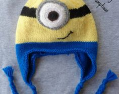 Knitted minion hat pattern | Knitted Minion Hat - Size Child to Small Adult ***FREE SHIP*** ...