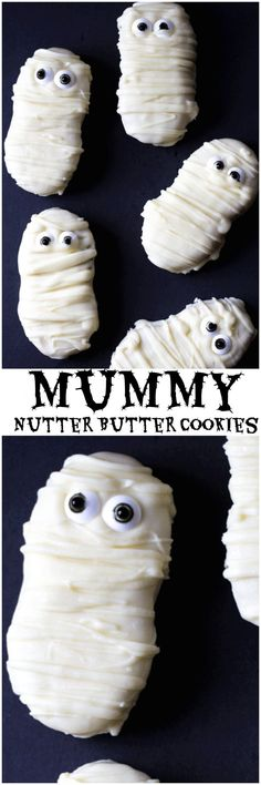 Mummy Nutter Butter Cookies. Easy to make Mummy Nutter Butter Cookies are a great treat for Halloween. Kids love them, they are easy to make and cute too! #Halloween #HalloweenCookie #MummyCookie