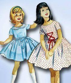 1950s Vintage Little Girls Dress & Petticoat 1959 McCalls Sewing Pattern Size 8 #McCallsPattern #DressPattern