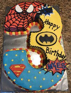 Spider-Man- Superman - Batman Birthday Cake